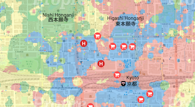Four-quadrant analysis of rental properties in Simogyo-ku, Kyoto-city, Kyoto, Japan